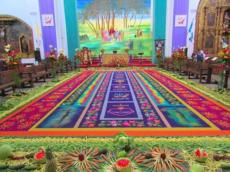Sawdust carpet with fruits and vegetables